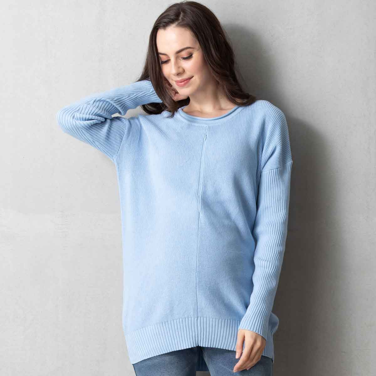 Maternity and Nursing ORGANIC COTTON Knit Sweater Top with Petit Dolman Sleeve