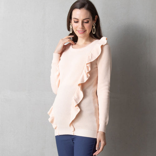 Maternity and Nursing Organic Cotton Frilled Knit Sweater