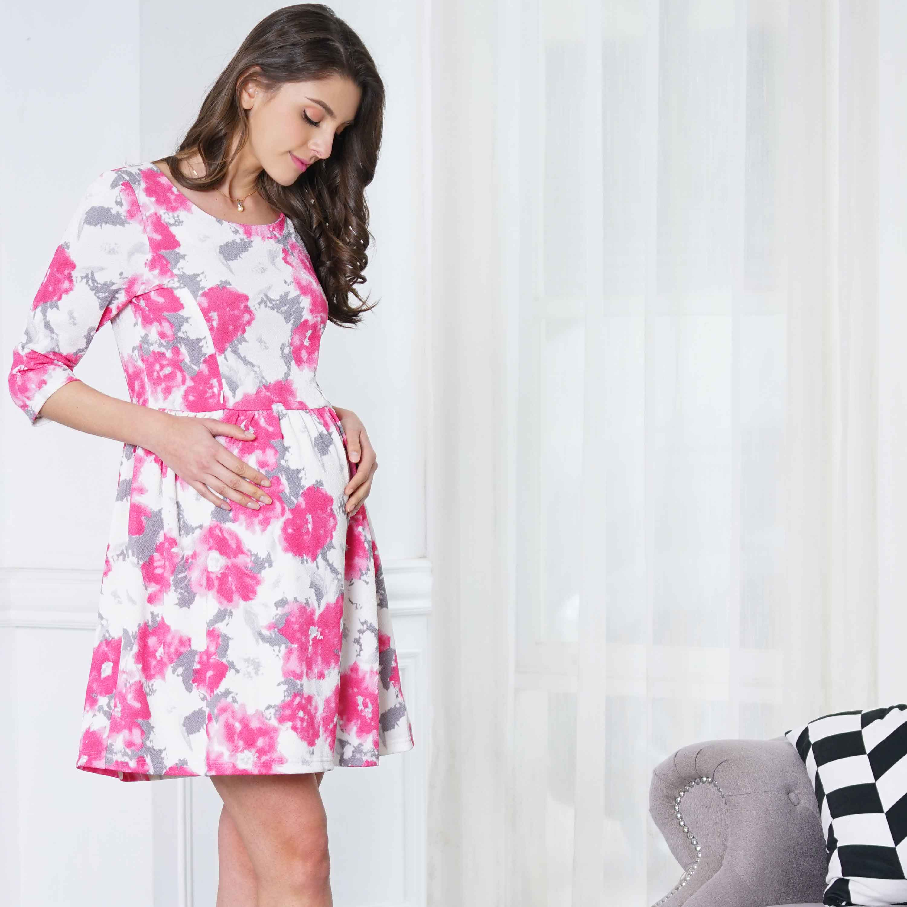 Maternity and Nursing Floral Print Long Sleeve Party Dress