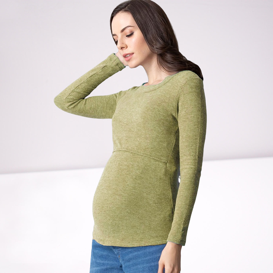 [Made in Japan] Maternity and Nursing Thermal Wear Round Neck Warm Top