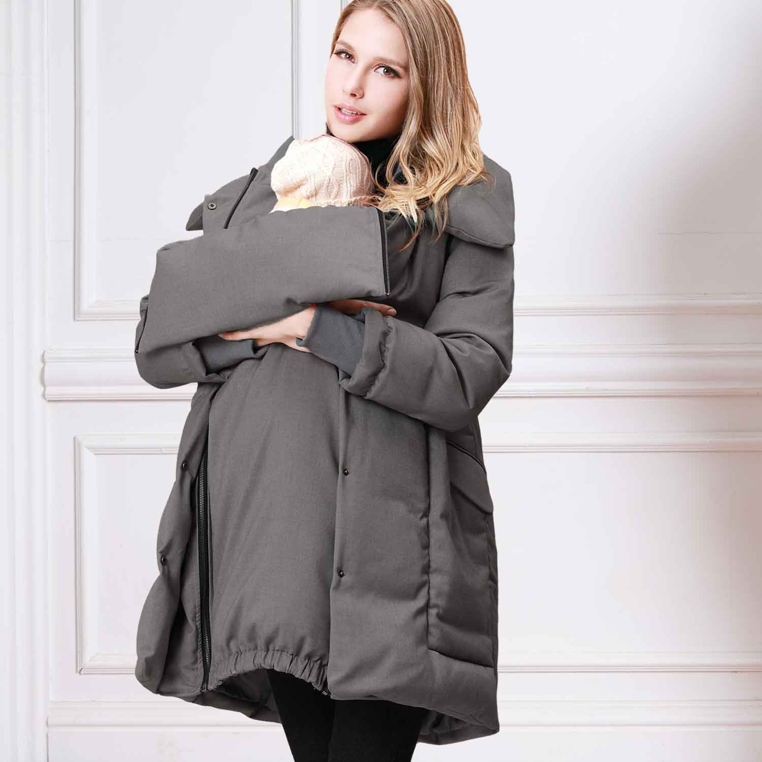 Maternity and Post-partum Down Coat with Baby Carrier Cover