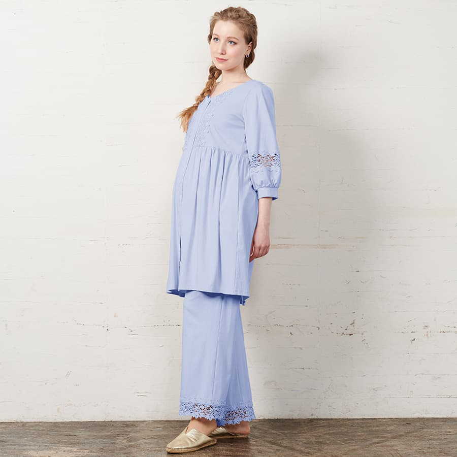 Maternity and Nursing Puff Sleeve 3 Piece Pajama Set