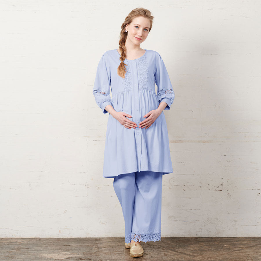 Maternity and Nursing Embroidery Lace Puff sleeve 3 Piece Pajama Set