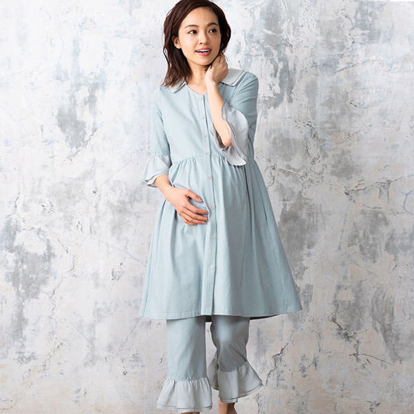 Maternity and Nursing Vintage Cotton Pajama with Frills