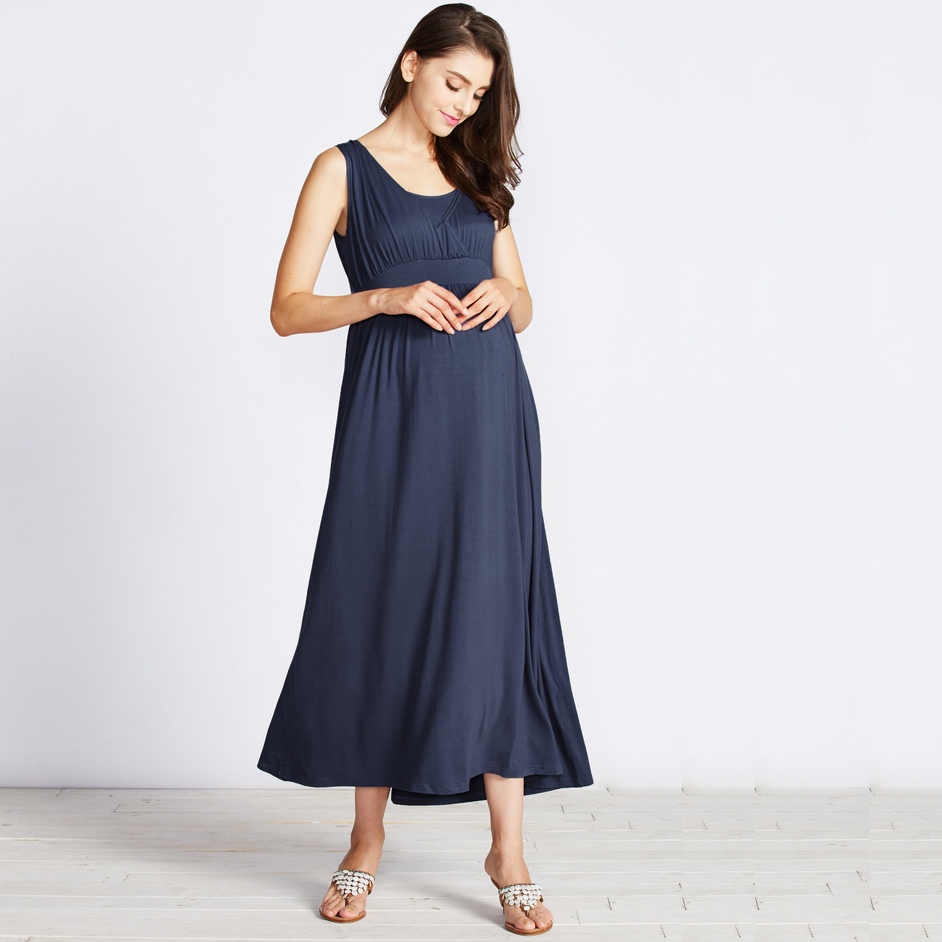 maternity maxi dress navy