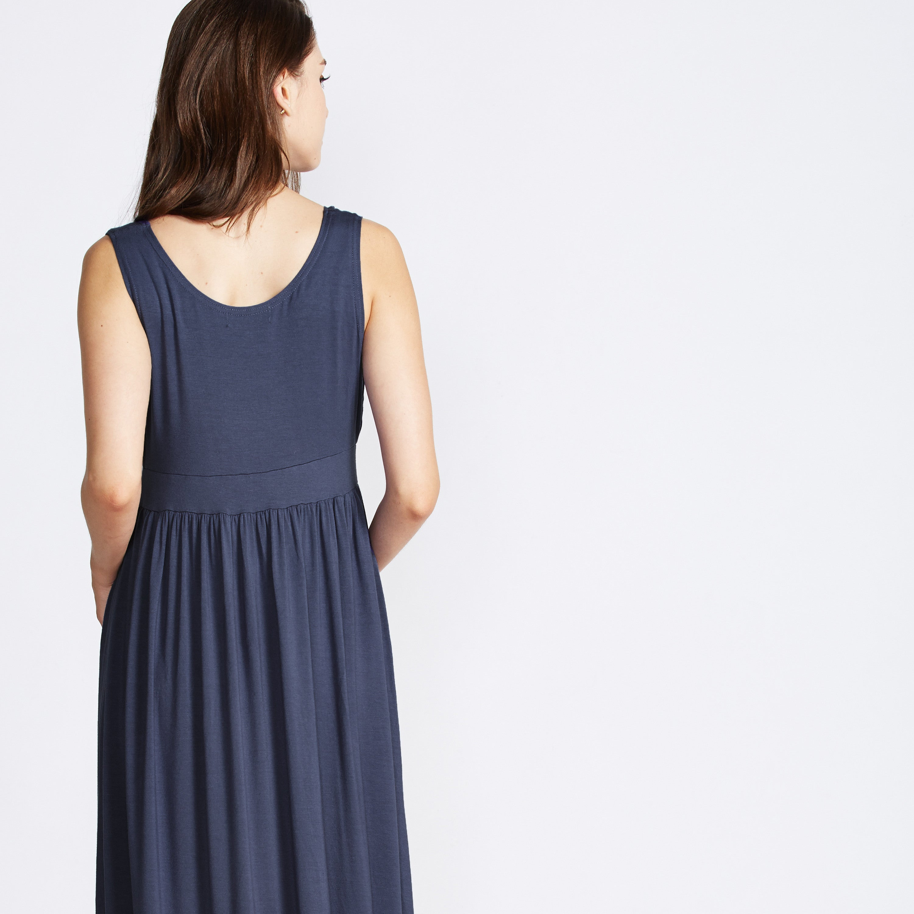 nursing maxi dress navy