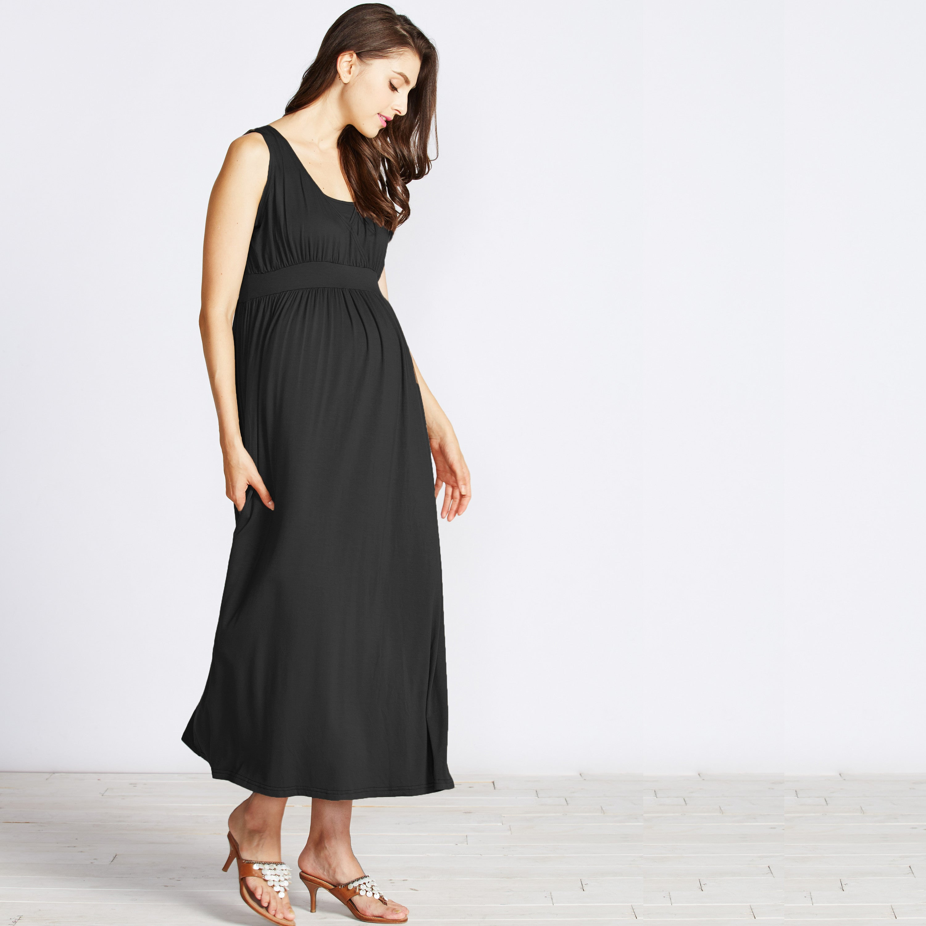 nursing maxi dress black