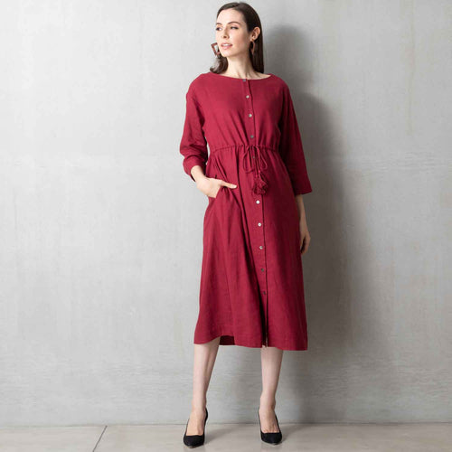 Maternity and Nursing Cotton Linen Maxi Long Sleeve Dress
