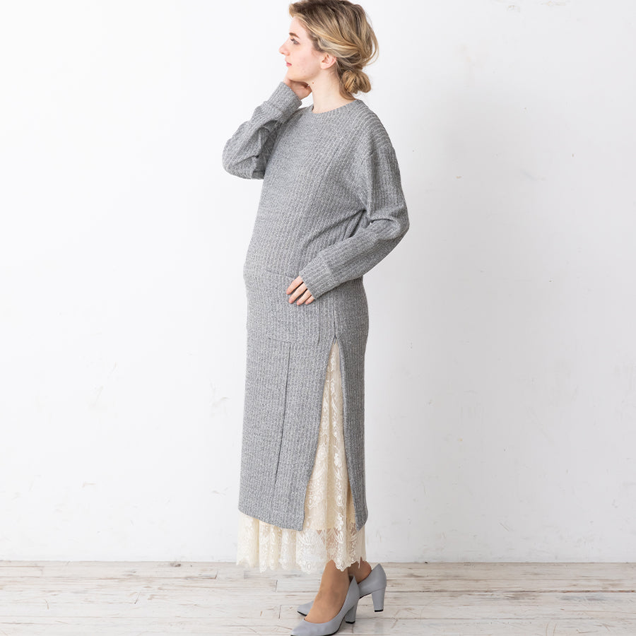 Maternity and Nursing One Size Rib-knit Slit Dress With Pockets
