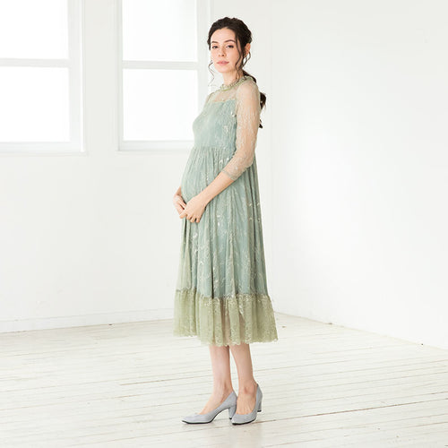 Maternity and Nursing Total Lace Midi Formal Dress