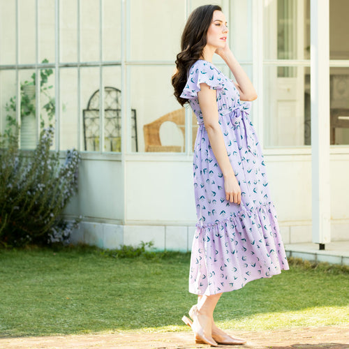 Maternity and Nursing Lily of the Valley Pattern Flare Sleeve Dress