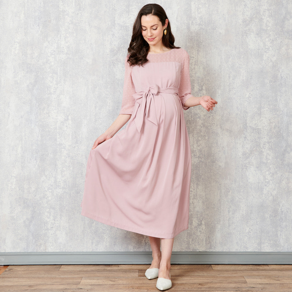 Nursing Baby Shower Midi Chiffon Dress