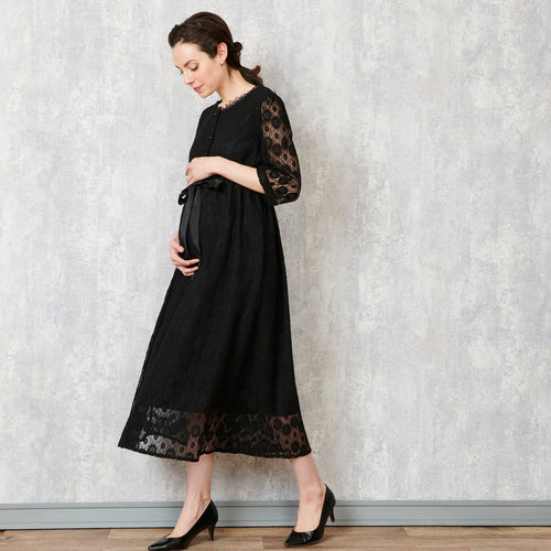 Maternity and Nursing Formal Baby Shower Lace V-Neck Dress