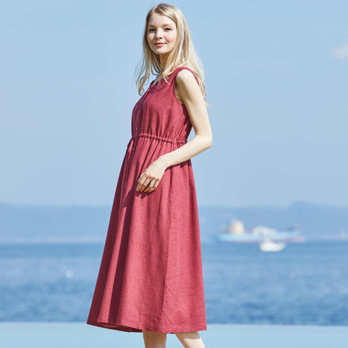 Maternity and Nursing Cotton Linen Maxi Dress