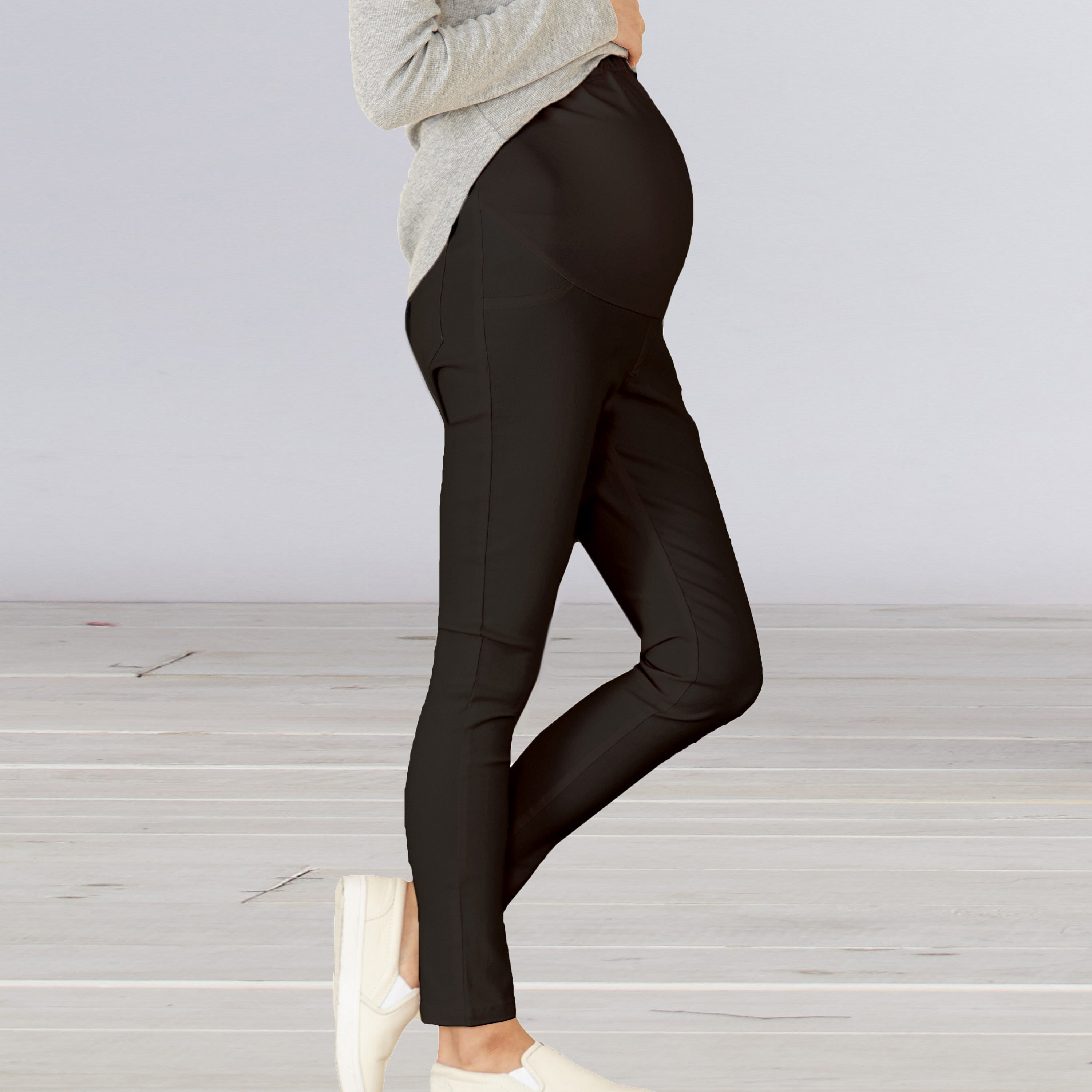 BEST SELLING HIGH WAIST Maternity/ Pregnancy Skinny Stretchy Pants with Belly Poach