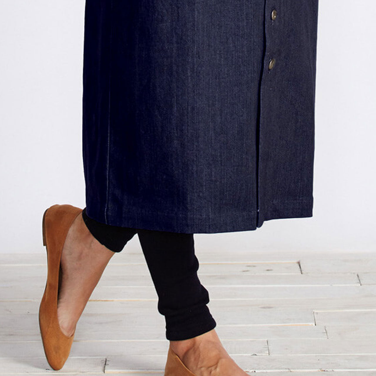 Maternity One Size Maxi Jeans Skirt with Suspenders Straps