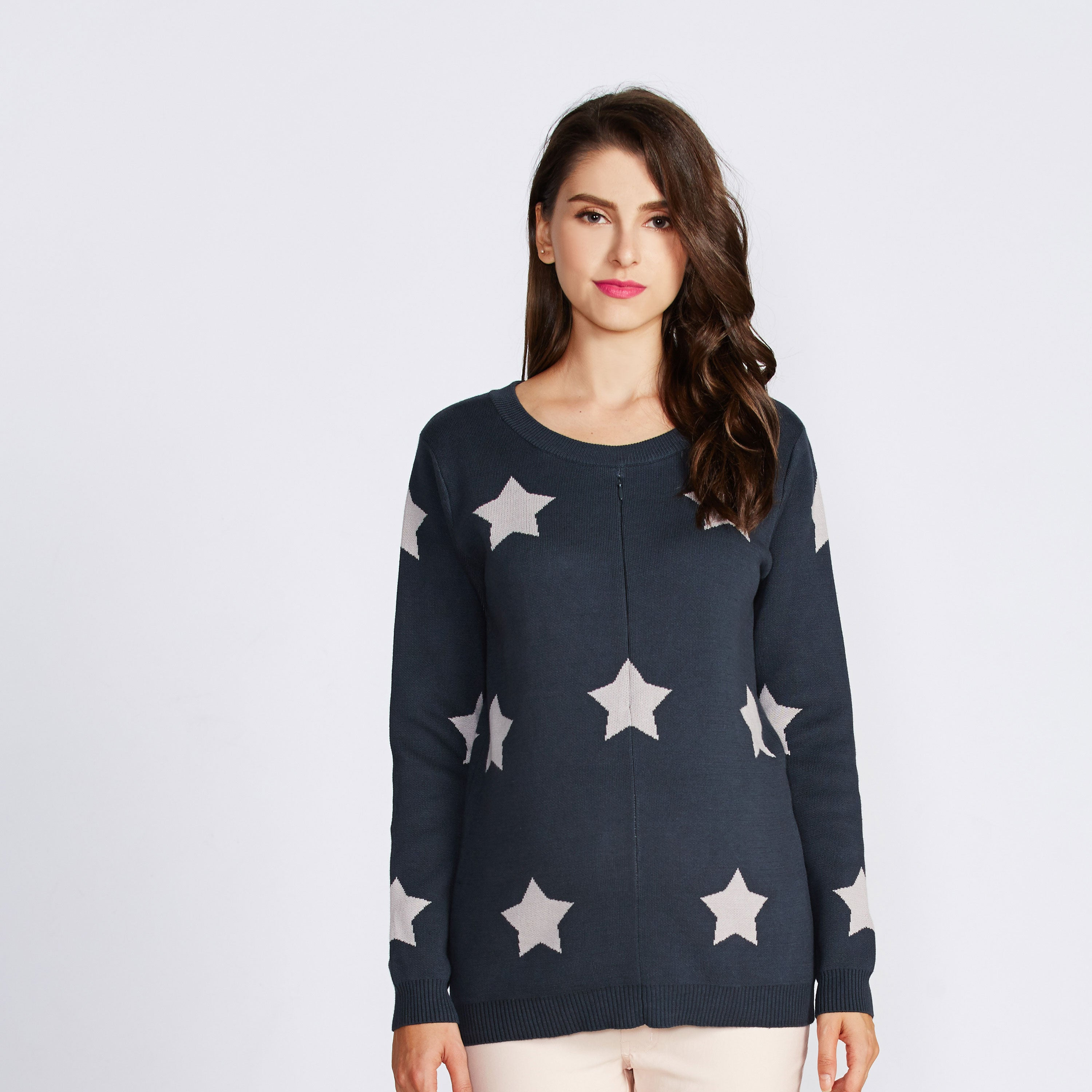 Maternity and Nursing Organic Cotton Star Pattern Sweater Top