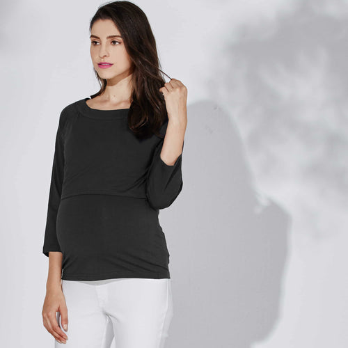 Maternity and Nursing BASIC COTTON Half Sleeve Top