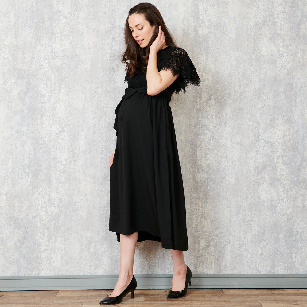 Maternity and Nursing Baby Shower Midi Dress with Lace Sleeves