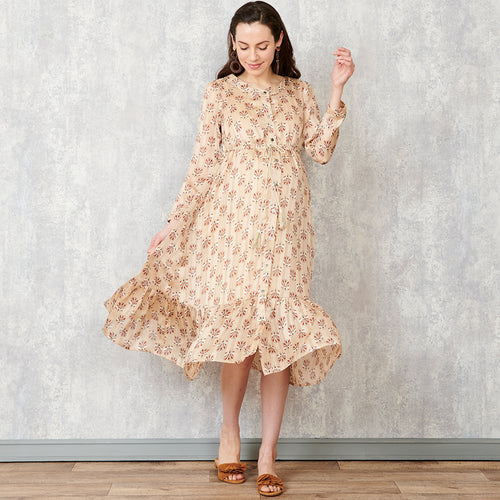 Maternity and Nursing Chiffon Floral Pattern Baby Shower Midi Dress