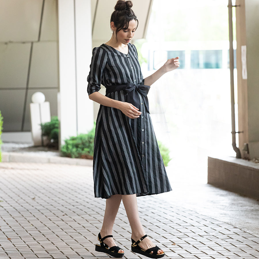 Maternity and Nursing Striped Midi Dress