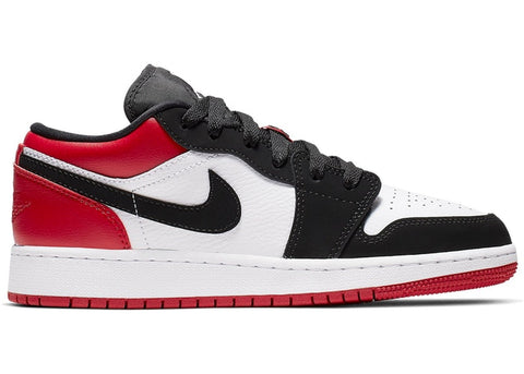 JORDAN 1 LOW BLACK TOE 553558116 SIZE 4.5Y, 5Y, 5.5Y