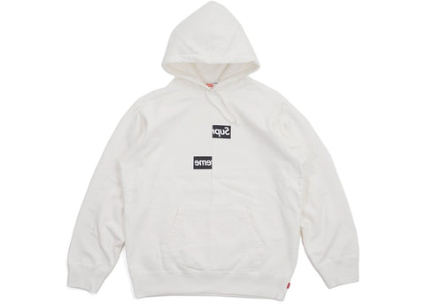 SUPREME CDG SPLIT BOX LOGO HOODIE WHITE (PRE-OWNED) SIZE L