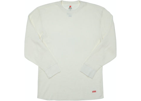 SUPREME HANES THERMAL CREW (1 PACK) NATURAL FW18 SIZE S