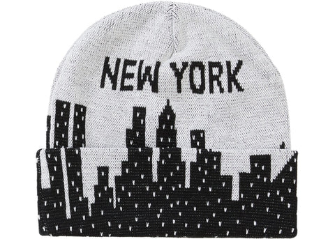 SUPREME NEW YORK BEANIE WHITE SS20