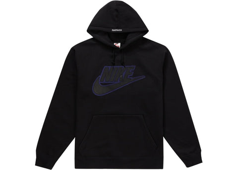 SUPREME NIKE LEATHER APPLIQUE HOODED SWEATSHIRT BLACK FW19 SIZE L, XL