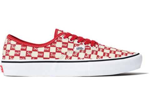 VANS AUTHENTIC SUPREME RED CHECKERED LOGO VN000Q0DJLY SIZE 9