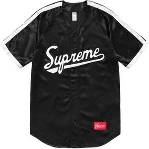 SUPREME SATIN BASEBALL JERSEY BLACK SS17 (PRE-OWNED) SIZE M