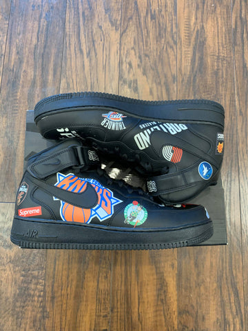 NIKE AIR FORCE 1 MID SUPREME NBA BLACK (PRE-OWNED) AQ8017001 SIZE 9.5