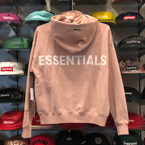 FEAR OF GOD ESSENTIALS LOGO BOXY PULLOVER HOODIE PINK SIZE XXS, XS, S, M, L, XL