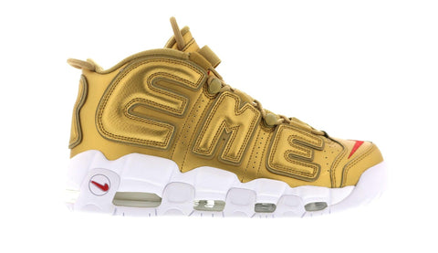 SUPREME AIR MORE UPTEMPO METALLIC GOLD 902290700 SIZE 8, 8.5, 9.5, 10, 10.5