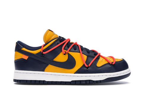 NIKE DUNK LOW OFF-WHITE UNIVERSITY GOLD MIDNIGHT NAVY CT0856700 SIZE 7.5