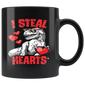 I Steal Hearts Valentines Day Dinosaur T Rex Mugs