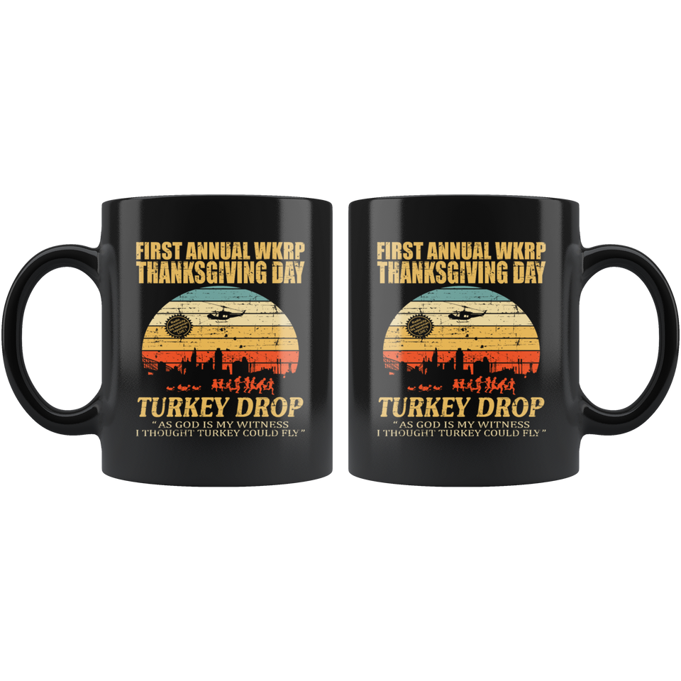 First anuual WKRP Turkey Drop Distressed Mugs