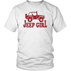 Vintage Jeep-Girl Christmas Pajamas Buffalo plaid Jeep T-Shirt