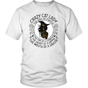 Crazy Cat Lady The Soul Of Witch The Fire Of Lioness T-Shirt