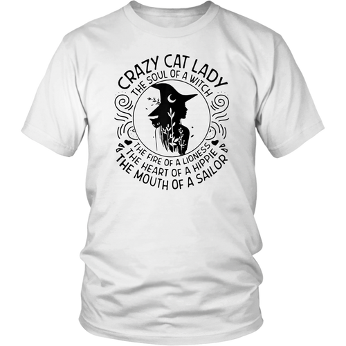 Crazy cat lady the soul of a witch the fire of a lioness Tee