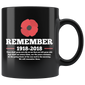 World War 1 Centennial Remember 1918-2018 Mugs