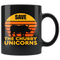 Retro Vintage Save The Chubby Unicorns Mugs