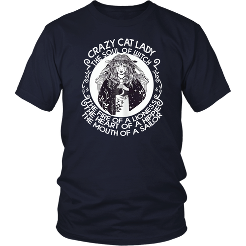 Womens Crazy Cat Lady The Soul Of Witch The Fire Of Lioness Tee Shirt