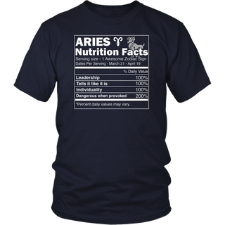 Aries Nutrition Facts Zodiac Sign Shirt