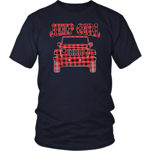 Cute Jeep-Girl Buffalo plaid Jeep-mas Pajamas T-Shirt