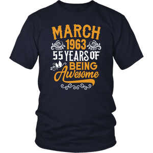 March 1963 55 Years Of Being Awesome T-Shirt