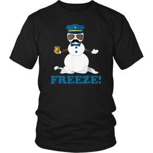Cop Snowman Freeze Christmas Shirt