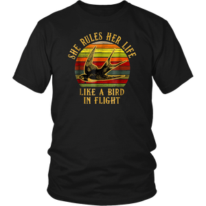 Retro Vintage She Rules Her Life Like A Bird In Flight Shirt