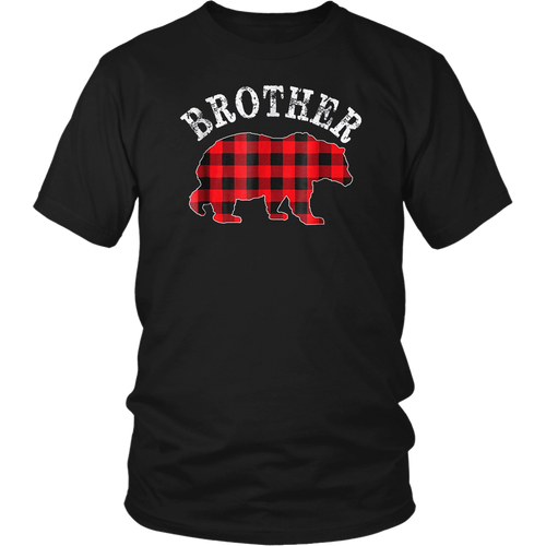 Red Plaid Brother Bear Buffalo Matching Family Pajama TShirt